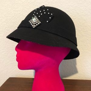 Cloche black hat with rhinestones